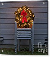 Christmas Wreath On Lawn Chairs Acrylic Print