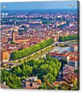 City Of Verona Old Center And Adige River Aerial Panoramic View Acrylic Print