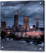 Cleveland Skyline At Dusk From Edgewater Park Acrylic Print