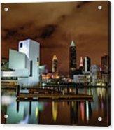 Cleveland Skyline At Night Acrylic Print