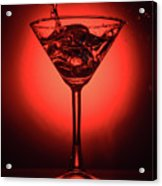 Cocktail Glass With Splashes On Red Background Acrylic Print