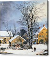 Currier & Ives Winter Scene Acrylic Print