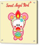 Cute Art - Sweet Angel Bird In A Bear Costume Holding A Basket Of Forget-me-nots Wall Art Print Acrylic Print