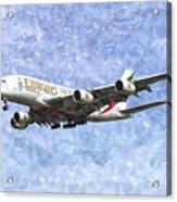 Emirates A380 Airbus Watercolour Acrylic Print