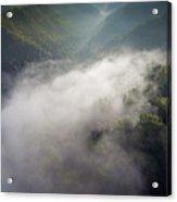 Fantastic Dreamy Sunrise On Foggy Mountains Acrylic Print