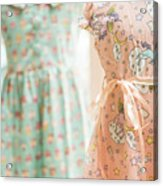 Floral Pattern Young Girl Dresses In Shop Acrylic Print