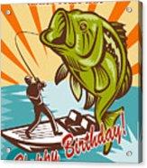 Fly Fisherman On Boat Catching Largemouth Bass Acrylic Print by Aloysius Patrimonio