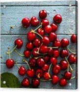 Fresh Cherries On Wood Acrylic Print