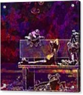 Frogs Yoga Bank Bench Relaxed  Acrylic Print