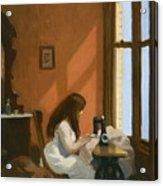 Girl At Sewing Machine Acrylic Print
