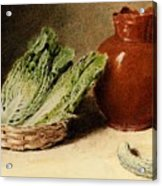 Hunt William Henry Still Life With A Jug A Cabbage In A Basket And A Gherkin William Henry Hunt Acrylic Print