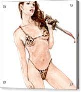 Junglegirl With Dagger Acrylic Print