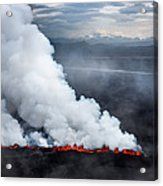 Lava And Plumes From The Holuhraun Acrylic Print