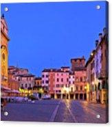 Mantova City Piazza Delle Erbe Evening View Panorama Acrylic Print