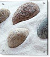 Meditation Stones On White Sand Acrylic Print