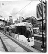 metrolink trams at mediacity station Manchester uk Acrylic Print