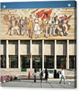 National Historical Museum Landmark And Mosaic Mural In Tirana A Acrylic Print