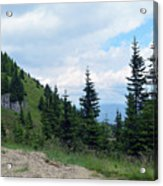 Natural Scenery With Mountains And Cloudy Sky. Acrylic Print