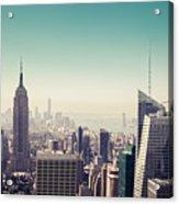 New York Manhattan Skyline At Sunset Acrylic Print