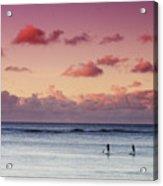 Paddlers At Sunset Acrylic Print
