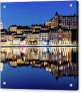 Perfect Sodermalm And Mariaberget Blue Hour Reflection Acrylic Print