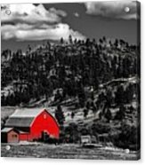 Red Barn In Wyoming Acrylic Print