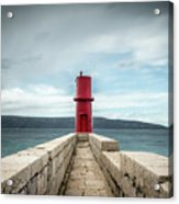 Red Lighthouse Of Cres On A Cloudy Day In Spring Acrylic Print