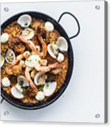 Seafood And Rice Paella Traditional Spanish Food Acrylic Print