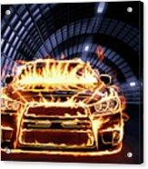 Sports Car In Flames Acrylic Print