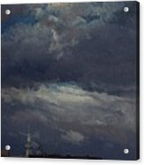 Stormclouds Over The Castle Tower In Dresden  Acrylic Print