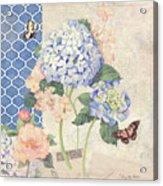 Summer Memories - Blue Hydrangea N Butterflies Acrylic Print