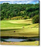 Summer Morning Hay Field Acrylic Print