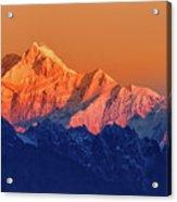 Sunrise On Mount Kanchenjugha At Dawn Sikkim Acrylic Print