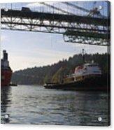 The New Tacoma Narrows Bridge - Crowley Tug Acrylic Print