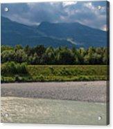 The River Rhine Between Liechtenstien And Switzerland Acrylic Print