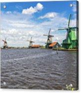 Traditional Dutch Windmills At Zaanse Schans, Amsterdam Acrylic Print