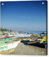 Traditional Fishing Boats On Dili Beach In East Timor Leste Acrylic Print
