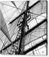 Vintage Style Picture Of Beautiful Sail Boat Details. Rope, Hull Acrylic Print