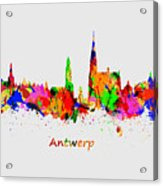 Watercolor Art Print Of The Skyline Of Antwerp In Belgium Acrylic Print