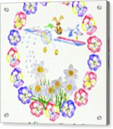 Welcome Spring. Rabbit And Flowers Acrylic Print