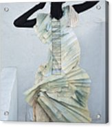 Woman With Black Boby Paint In Paper Dress Acrylic Print
