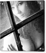 Young Woman In Lingerie Sits On The Attic Behind A Window Acrylic Print