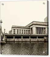 30th Street Station From The River Walk In Sepia Acrylic Print