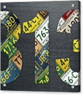 313 Area Code Detroit Michigan Recycled Vintage License Plate Art Acrylic Print