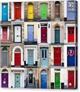 32 Front Doors Horizontal Collage  Acrylic Print