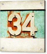 34 On Weathered Aqua Acrylic Print