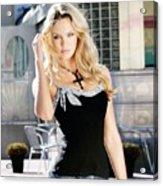 345337 Women Long Hair Lips Eyes Candice Swanepoel Acrylic Print
