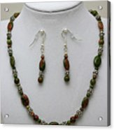 3525 Unakite Necklace And Earring Set Acrylic Print