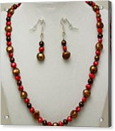 3536 Freshwater Pearl Necklace And Earring Set Acrylic Print