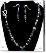 3545 Black Cracked Agate Necklace And Earring Set Acrylic Print